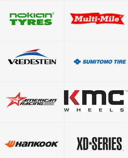 Featured Brands, Nokian Tires, Vredestein Tires, Multi-Mile Tires, Sumitomo Tires, American Racing Wheels, Hankook Tires, XD Series Wheels