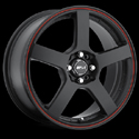 MSR STYLE 091 BLACK W/ RED STRIPE WHEELS